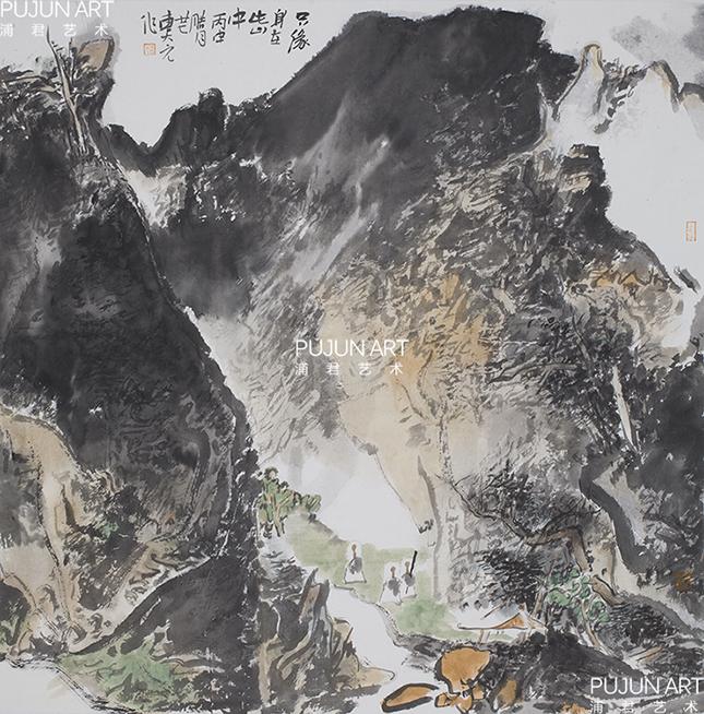 细品曹新刚山水画,意境有独到之处,概而言之:飘渺,雄壮,幽深,神秘.