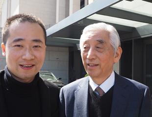 浦君艺术总经理胡桂忠先生中国书法家协会名誉主席张海合影