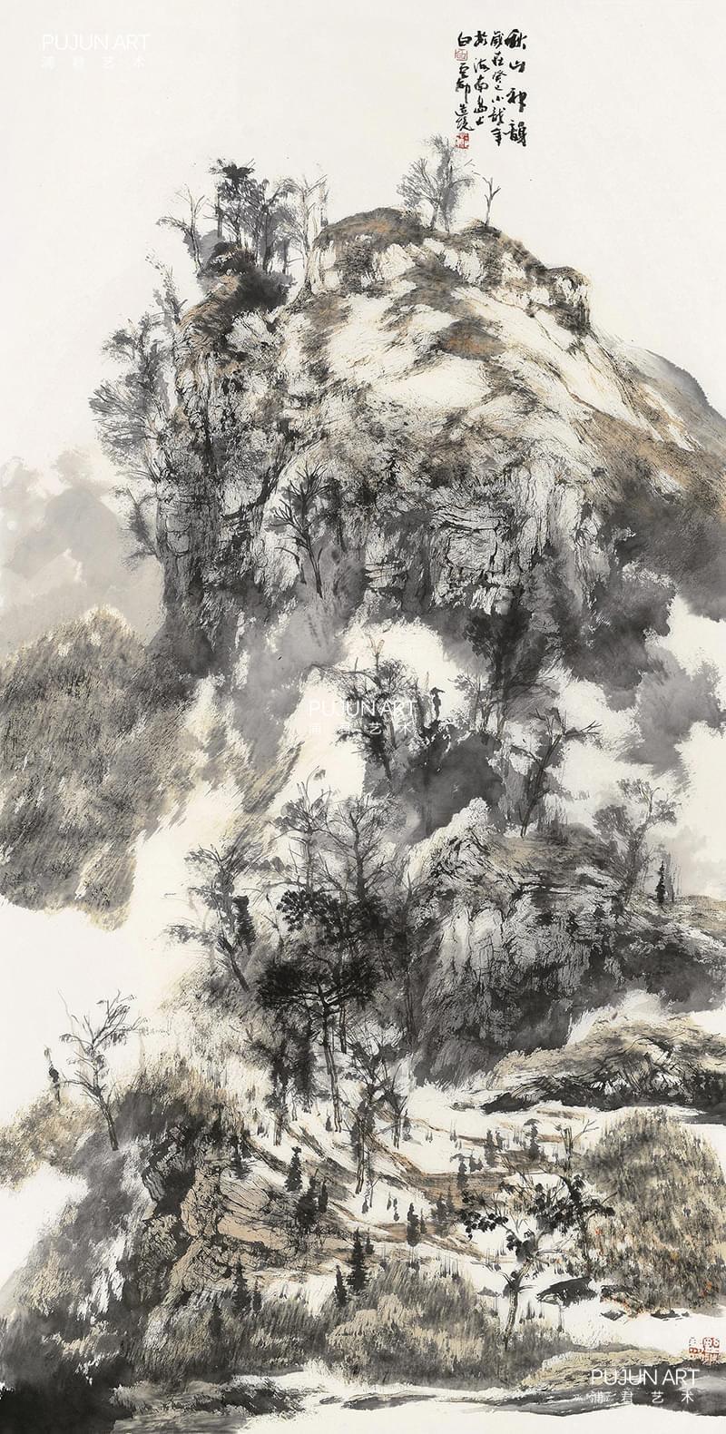 白云乡山水画作品8