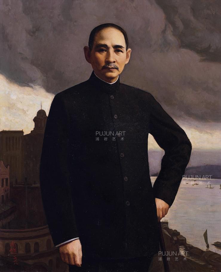 靳尚谊1996年作 孙中山 布面 油画