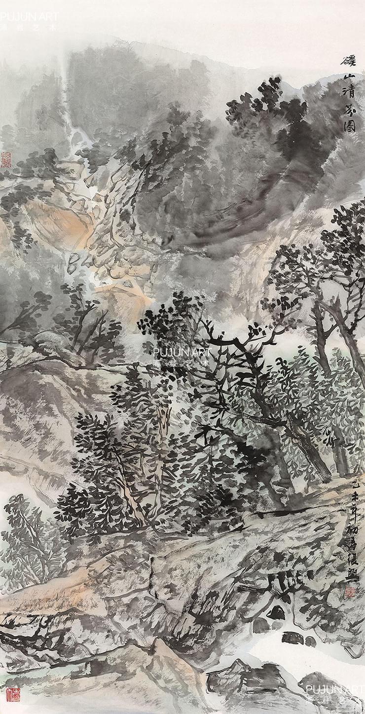 张复兴山水画 溪山清芬图