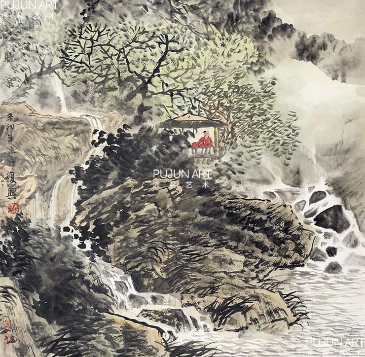 张复兴山水画 山居图