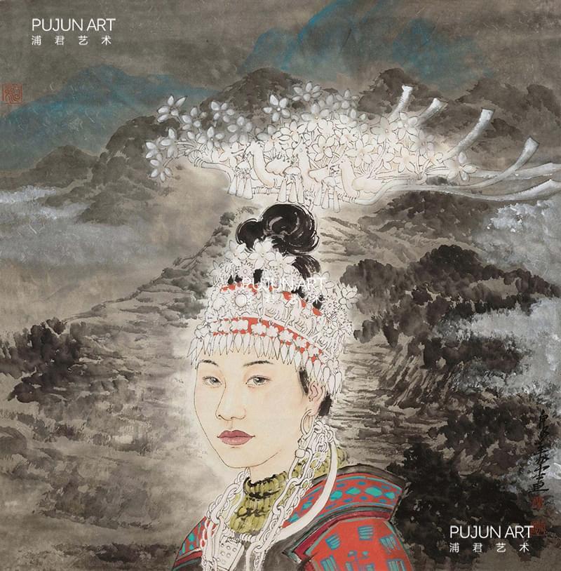 刘泉义作品 少女 立轴