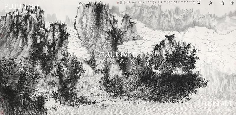 何加林山水画 云锁幽谷