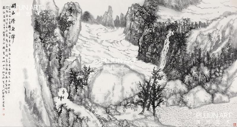 何加林山水画 崂山得鱼潭