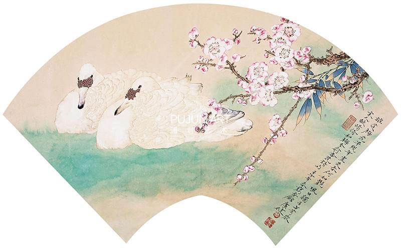 贾广健2002年作 梅花双鹅图