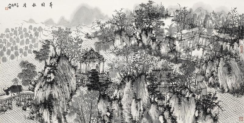 何加林山水画 荠园秋清