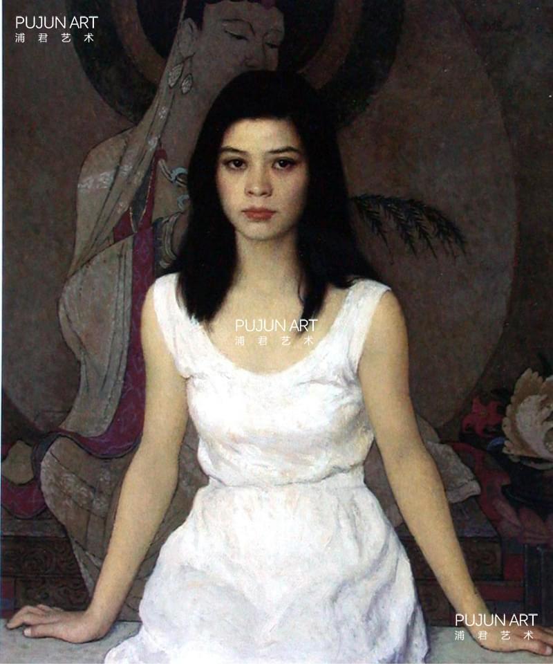 靳尚谊油画《穿白连衣裙的女孩》