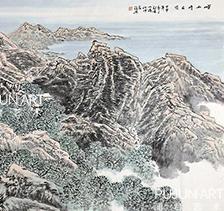 画家张复兴2004年作 崂山晴日图