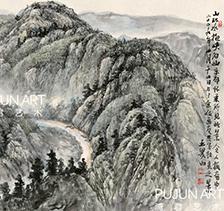 画家王界山2009年作 山环水抱峡谷幽