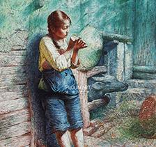 罗中立1986年作 穿针 布面油画