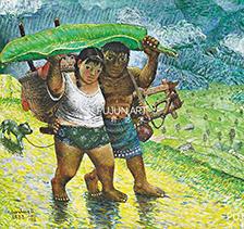 罗中立1988年作 山路弯弯 布面油画