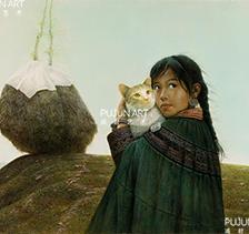 罗中立1989年作 秋:抱猫的女孩 油彩 画布