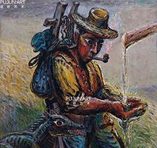 画家罗中立2003年作 饮 布面 油彩