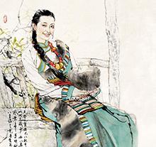 何家英人物画 藏族少女