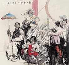 画家徐展作品 郎木寺的节日