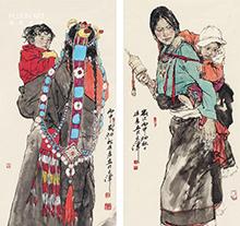画家徐展作品  藏族母子