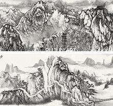 何加林山水画 步云问山图 手卷