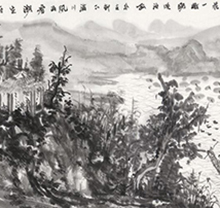何加林山水画 古村渔隐图