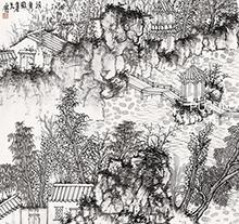 何加林山水画 清夏图