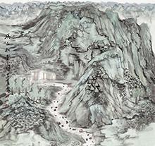 何加林山水画 溪山拥翠图