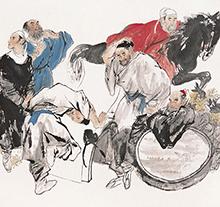王明明1986年作 饮中八仙图