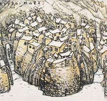 李宝林1997年作 古老山村