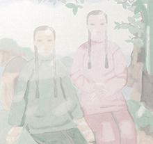 田黎明国画 两姐妹