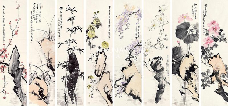 霍春阳2012年作 花卉 八条屏