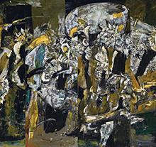 许江1992年作 灰背景上的棋俑