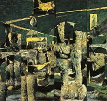 许江1992年作 绿色背景上的棋俑