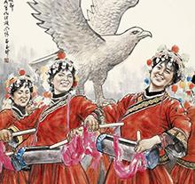 苗再新2011年作 欢舞敬雀节