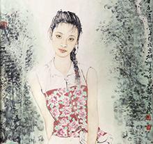 赵建成人物画 一篮春色 仕女