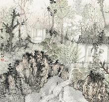 何加林2002年作 翠幄图
