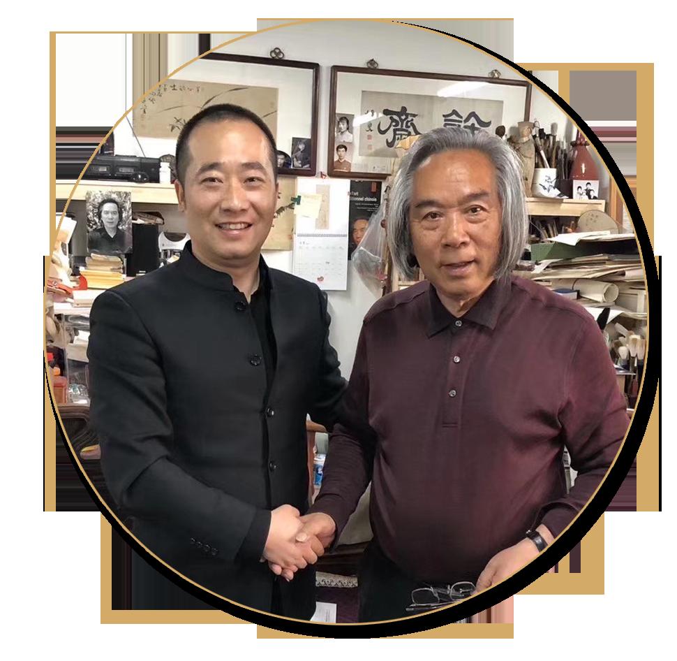 浦君艺术创始人胡桂忠与霍春阳先生合影
