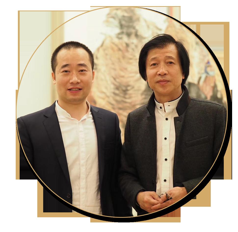 浦君艺术创始人胡桂忠与著名山水画家周尊圣先生合影