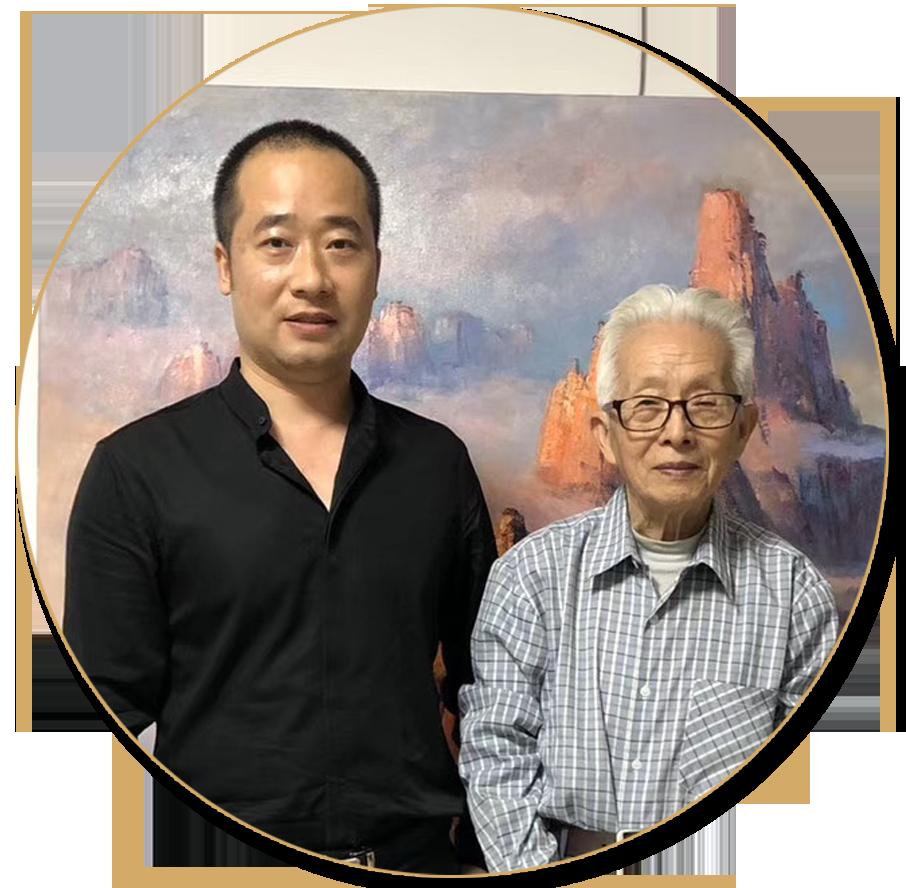 浦君艺术创始人胡桂忠与朱曜奎先生合影