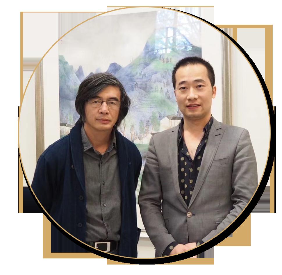 浦君艺术创始人胡桂忠与当代重要山水名家林容生先生合影